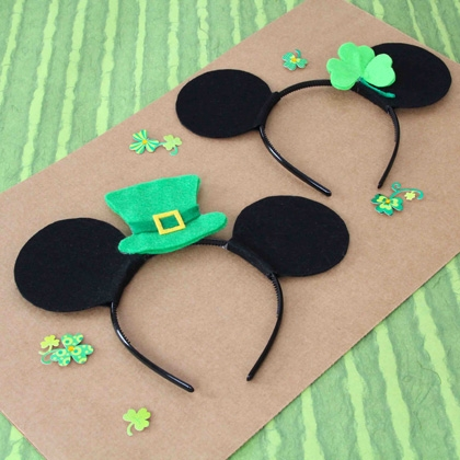 Mickey & Minnie St. Patrick's Day Headbands Kids Craft
